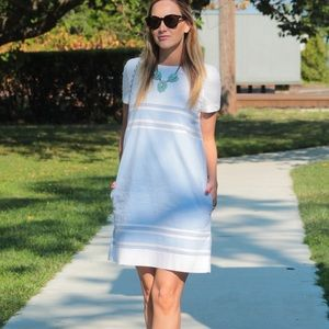 Blue & white mini dress with pockets